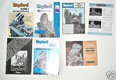 7 Pc Myford Ml7 Super 7 Ml10 Quick Change Lathe Advertisement Lot #Rr155