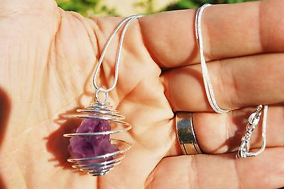 "CUTE Baby Tibetan Elestial Amethyst Perfect Pendant™ + 20"" Silver Chain"