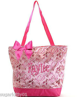 PERSONALIZED Pink Satin Ballet Slipper Pattern Large Dance Bag Free Shipping