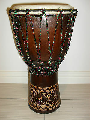 Cute Carved Wooden Bongo Drum - 40 Cm High