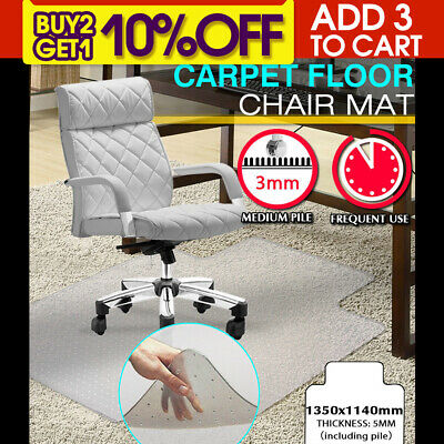 New Office Carpet Chair Mat Computer Floor Work  1350 x 1140mm  Vinyl Protector