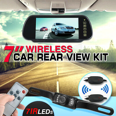 "Wireless Car Rear View Kit 7"" LCD Mirror Monitor + Night Vision Reversing Camera"