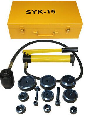 "Comie 15ton 1/2"" to 4"" Hydraulic Knockout Punch Kit Hand Pump 10 Dies Tool Hydra"