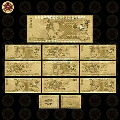 10pcs 24k Gold Plated Banknotes 1000 Pesos Philippines Note Nice Business Gift