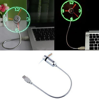 USB Clock PC Notebook New Flexible Home Office Mini Fan Power LED Gooseneck