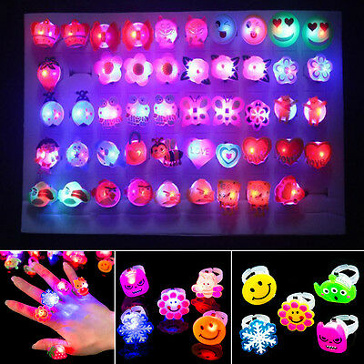 New LED Light Mixed 1Pcs Cute Cartoon Children/Kids Resin Lucite Ring