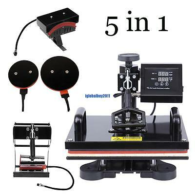 5 In 1 Heat Press Machine Transfer Sublimation Print T-Shirt Mug Hat Plate Cap