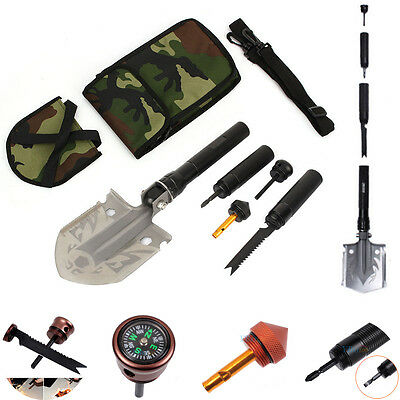 Multi Tool Folding Shovel Camping Hiking Survival Compass Whistle Magnesium Rod