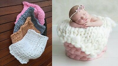 Brand New Newborn Chunky Knit Bump Blanket Photo Prop Layering Photography
