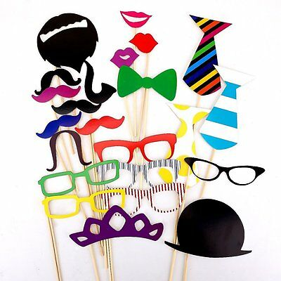 22 Pcs Colorful Props On A Stick Mustache Photo Booth Fun Party Wedding S*