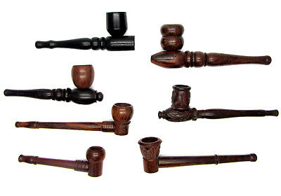 Polished Wooden Smoking Pipes Long Wood Carved Crafted Hand Pipe Uk