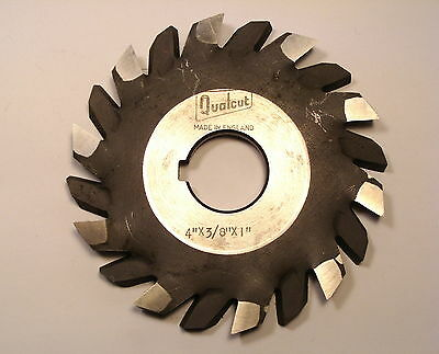 """NOS Qualcut HSS STAGG TOOTH SIDE & FACE HORIZONTAL MILLING CUTTER 4"""" x3/8""""x1""""  B"""