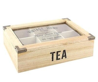 Wooden Box Tea Bag Chest 6 Compartment -Vintage Shabby Chic