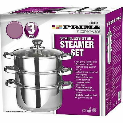 Prima Stainless Steel 20cm 3 Tier Steamer With Glass Lid