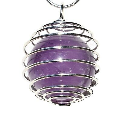 "CUTE Baby Tibetan Amethyst Sphere Perfect Pendant™ + 20"" Silver Chain"