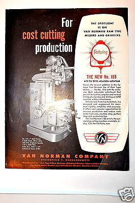 """Van Norman  """"FOR COST CUTTING PRODUCTION"""" brochure #RR382 milling Machine"""