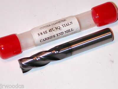 """NOS USA  made 3/8"""" 4 FLUTE TIALN SQUARE END  2.5"""" OAL  SOLID CARBIDE END MILL"""