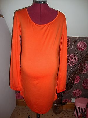 BNWT MATERNITY Burnt Orange Long Sleeved Ruched Detail Top Size  16
