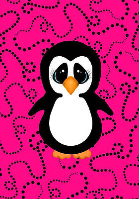 Penguin Art Print Decor Pink Black Girly Girl Bedroom Bedding Room Wall 5X7 Fun