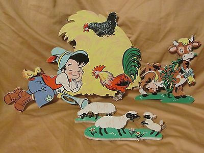 Vintage 1950's Dolly Toy Company Little Boy Blue Wall Hanging Set Mother Goose