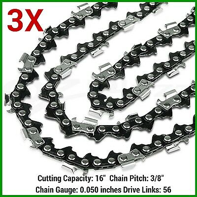 """3X CHAINSAW SEMI CHISEL CHAINS 3/8LP 050 56DL FOR Makita WITH 16"""" BAR SAW CHAINS"""