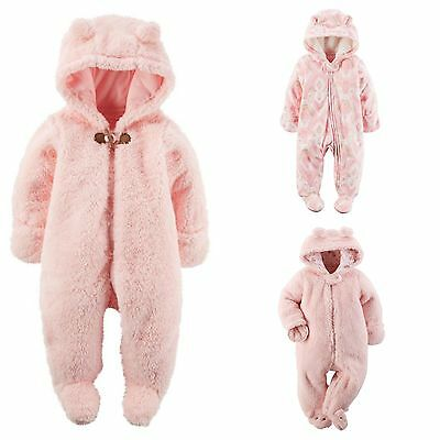 9147297a2 NWT CARTERS PINK Sherpa Fleece Hooded Bunting Pram Snowsuit Baby ...