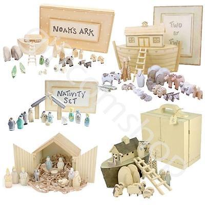 East Of India Wooden Hand Carved Boxed Gift Set Noahs Ark & Nativity Gift Sets