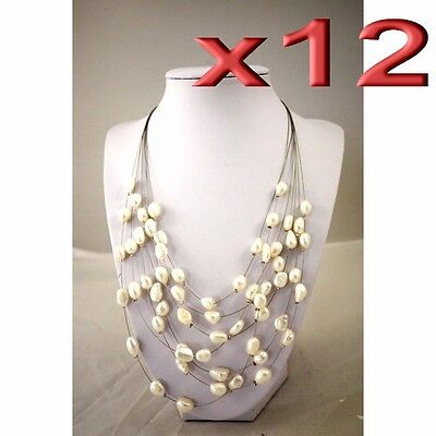 12pc Wholesale Bulk Lots Beaded Natural Freshwater Pearl Necklace 5-9mm