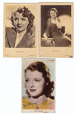 JANET GAYNOR  - 3  PHOTO  postcards  - MOVIE STAR