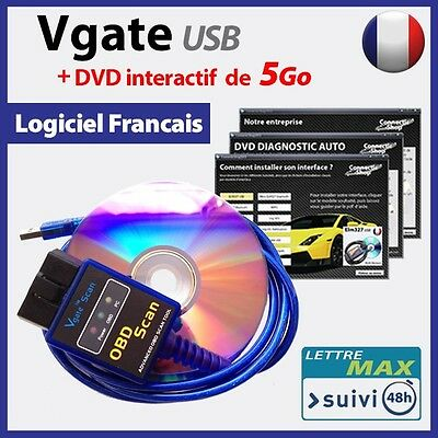 Vgate ELM327 USB ELM327 interface OBD2 + DVD INTERACTIF de 5 Go
