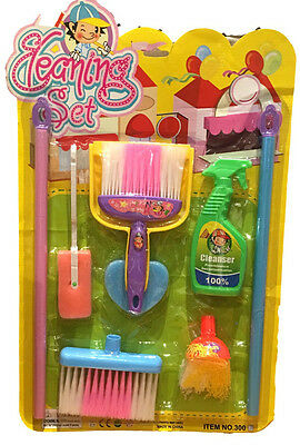 Kids Boys Girl Pretend PlayToy Cleaner Cleaning Set Toy Brush Broom Mop Dustpan
