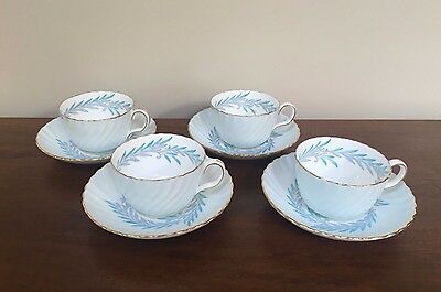 Minton SYMPHONY BLUE Flat Cup & Saucer ~ Set of 4