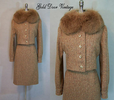 Stunning Vtg 60s COUTURE BILL BLASS Tweed Huge FOX FUR Trim Suit