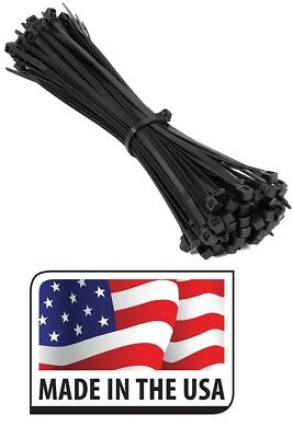 "(100) HEAVY DUTY 120LB 8"" UV RESISTANT BLACK CABLE ZIP TIES Made in USA"