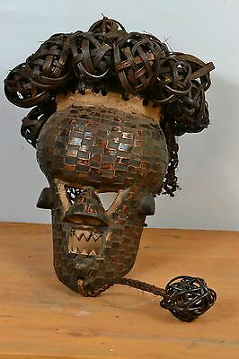 Vintage African  Salampasu Warrior Mask Copper Plated from DRC.