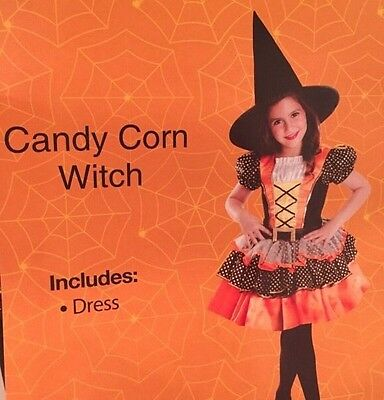 Candy Corn Witch Costume Large 8-10 Girls Halloween New in Package Dress Shiny