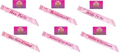 Hen Party Pink Sashes - 7 Designs Available