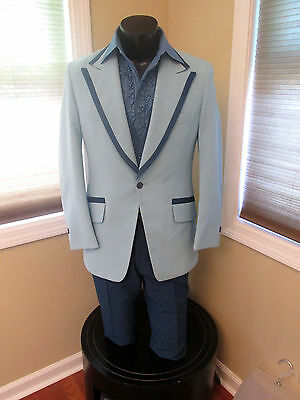 Mens Vintage Lord West Baby Blue Tuxedo Jacket With Royal Blue Trim  38S 3Pc