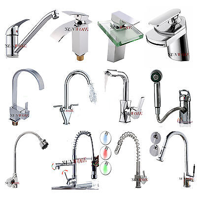 LED Spray Spout Swivel Pull Out Waterfall Mixer Taps Chrome Brass Sink Faucet UK