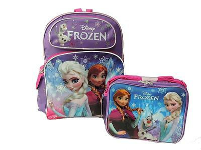 """Disney Frozen  16"""" Backpack with Frozen Lunch Box 2pcs Set Elsa Anna Olaf - New"""