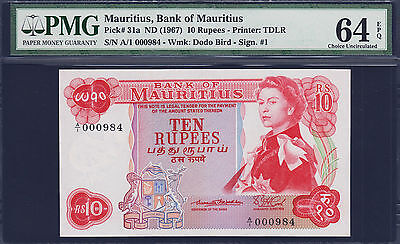 Mauritius 10 Rupees 1967 Pick-31a Low Serial A/1 000984 CH UNC PMG 64 EPQ