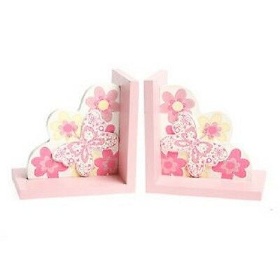 Butterfly Bookends Pink Wood Girls Children Bedroom Shelf Decoration Sass&belle