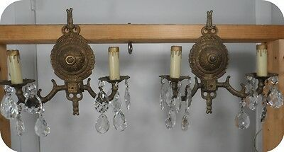 Pair Vintage Brass Wall Sconces 2 Arm Light w/ Prisms