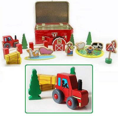 Wooden Farm Yard Pretend Play Set in Tin Case - Animals, Tractor, Farmer, House