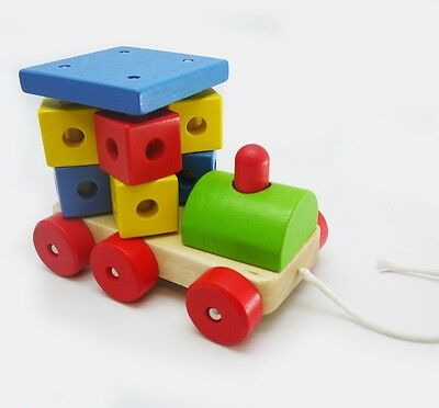 Wooden Pull Along Spinning Blocks Train Engine - String/Chord Walk Toy- Toot