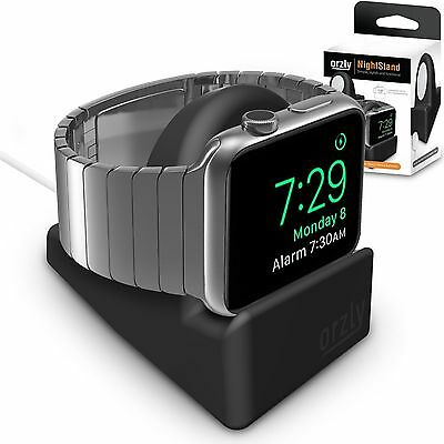Night-Stand Apple Watch BLACK Support Stand Slot Concealing Charging Cable Dock