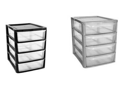 4 Drawer Plastic Storage Unit Homes/Office/Bedroom In Black or Silver