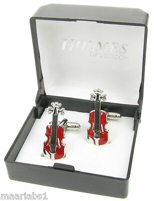 Novelty Violin Music Instrument Cufflinks Mens Silver Shirt Xmas Gift Box New Uk