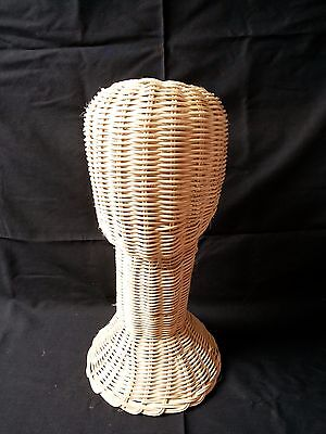 "14"" Long Neck Wig Head Display Stand Wicker Hat Sunglass Mannequi Natural Rattan"