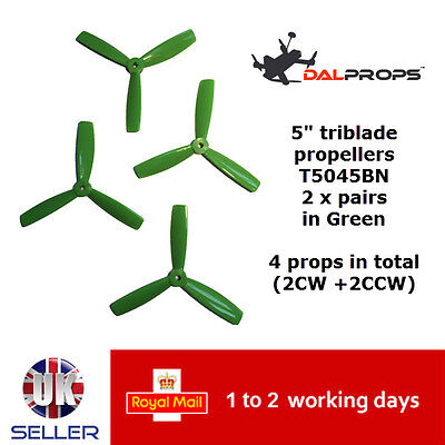 "DAL Quad Props T 5045 BN Tri Blade 3 Leaf x4 2 Pairs Green 5"" Propellers 210 UK"